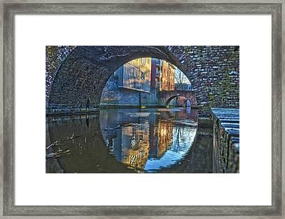 Bridges Across Binnendieze In Den Bosch Framed Print