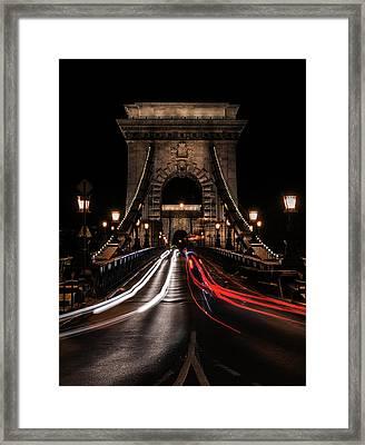 Framed Print featuring the photograph Bridges Of Budapest - Chain Bridge by Jaroslaw Blaminsky