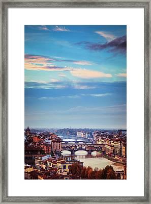Bridges Of Florence Framed Print by Andrew Soundarajan