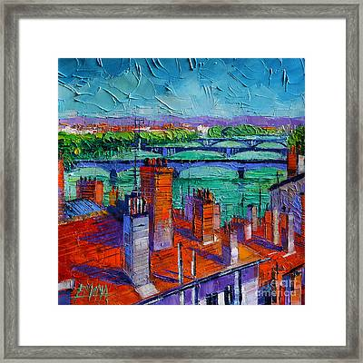 Bridges Of Lyon Framed Print by Mona Edulesco