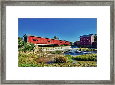 Bridgeton Covered Bridge And Mill Framed Print by Mountain Dreams
