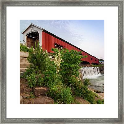 Bridgeton Covered Bridge - Indiana Square Art Framed Print by Gregory Ballos