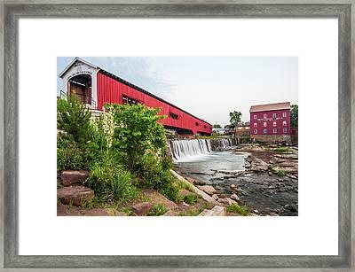 Bridgeton Indiana Mill And Covered Bridge Framed Print