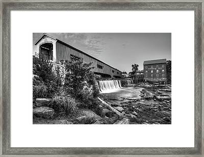 Bridgeton Mill And Covered Bridge - Indiana - Black And White  Framed Print by Gregory Ballos