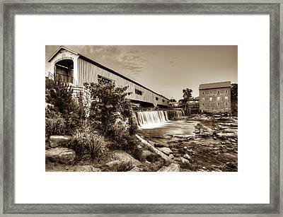 Bridgeton Mill And Covered Bridge - Indiana - Sepia Framed Print by Gregory Ballos