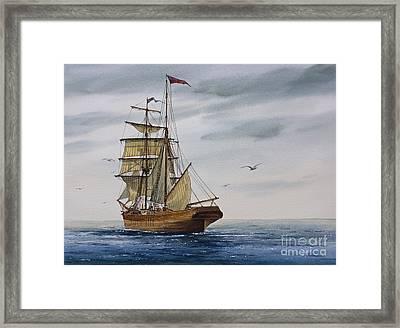 Brigantine Making Sail Framed Print