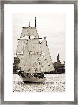 Brigantine Tallship Fritha Sailing Charleston Harbor Framed Print
