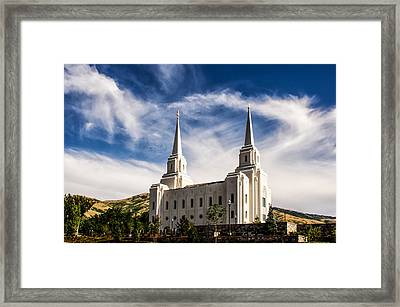 Brigham City Temple Nw Framed Print by La Rae  Roberts