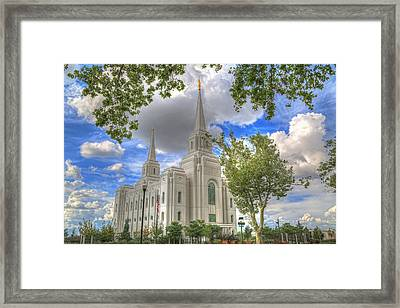 Brigham L D S Temple Framed Print by Donna Kennedy