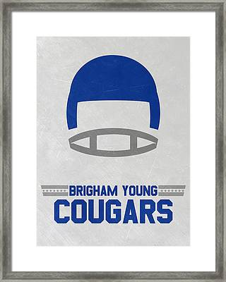 Brigham Young Cougars Vintage Football Art Framed Print