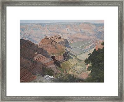 Bright Angel Trail Looking North To Plateau Point, Grand Canyon Framed Print