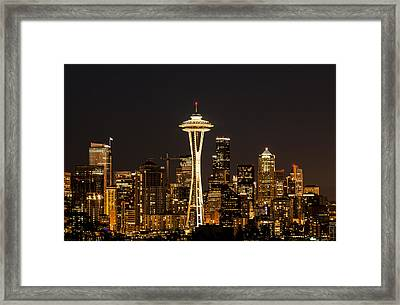 Bright At Night - Space Needle Framed Print