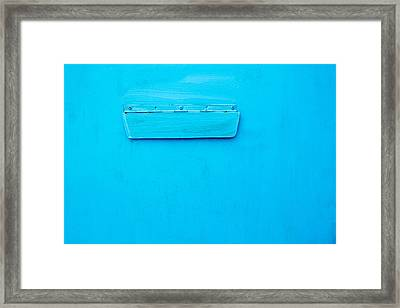 Framed Print featuring the photograph Bright Blue Paint On Metal With Postbox by John Williams