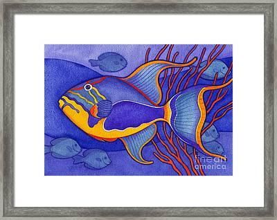 Bright Blue Triggerfish Framed Print by Laura Nikiel