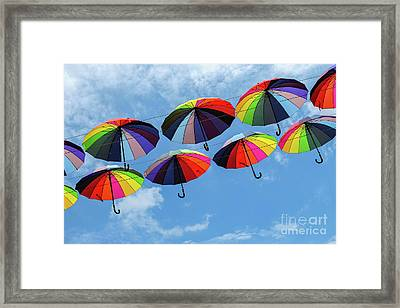 Bright Colorful Umbrellas  Framed Print