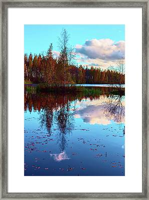Bright Colors Of Autumn Reflected In The Still Waters Of A Beautiful Forest Lake Framed Print