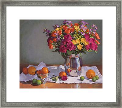 Bright Colors On A White Cloth Framed Print by Sarah Blumenschein