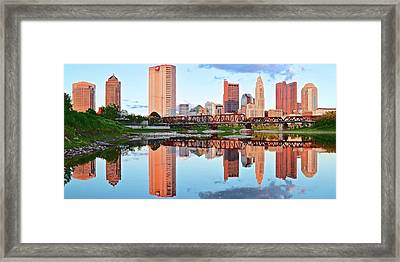 Bright Columbus Sky And Reflection Framed Print by Frozen in Time Fine Art Photography