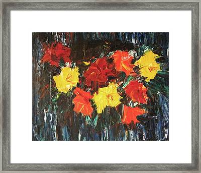 Bright Flowers On Blue Framed Print by Suzanne  Marie Leclair