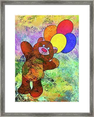 Bright Happy Bear Modern Children Art Framed Print