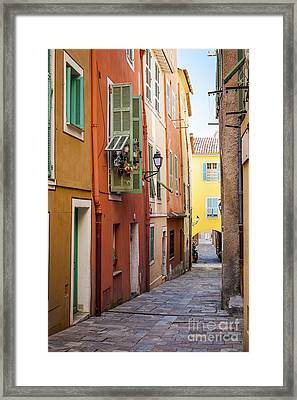 Bright Houses On Old Street In Villefranche-sur-mer Framed Print