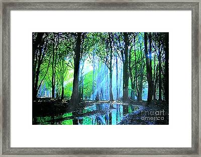 Framed Print featuring the painting Bright Light In Dark Wood by Marie-Line Vasseur