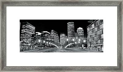 Bright Lights Lead Into Boston Framed Print by Frozen in Time Fine Art Photography