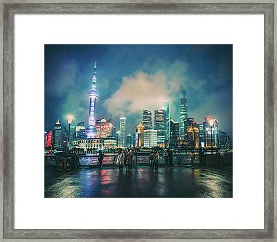 Bright Lights Of Pudong Framed Print
