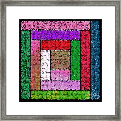 Bright Log Cabin Quilt Square Framed Print