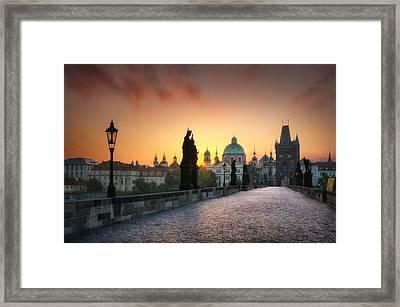 Bright Morning In Prague, Czech Republic Framed Print