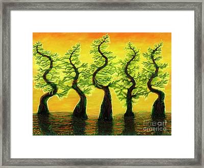Bright Moss Hidden Bunnies Framed Print