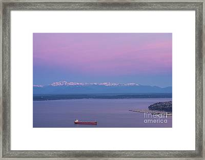 Bright Olympic Mountains And Sunrise Skies Framed Print