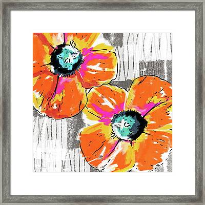 Framed Print featuring the mixed media Bright Orange Poppies- Art By Linda Woods by Linda Woods