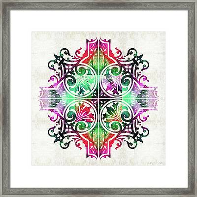 Bright Pattern Art - Color Fusion Design 9 By Sharon Cummings Framed Print
