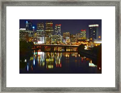 Bright Philly Night Framed Print by Frozen in Time Fine Art Photography