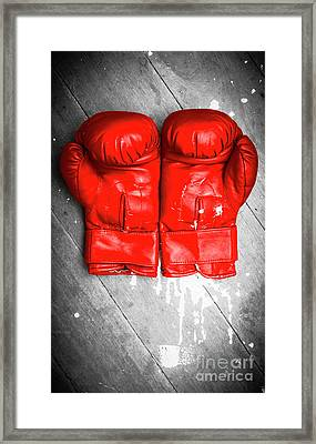 Bright Red Boxing Gloves Framed Print by Jorgo Photography - Wall Art Gallery