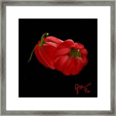 Bright Red Peppers Framed Print