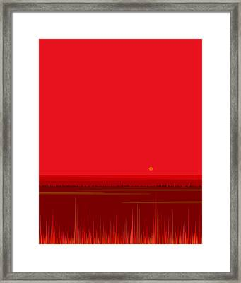 Framed Print featuring the digital art Bright Red Sunset Landscape by Val Arie