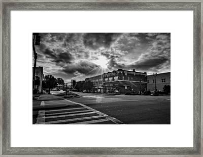 Bright Sun In Murphy North Carolina In Black And White Framed Print