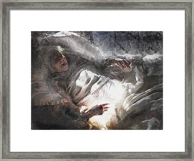 Bright Sunset Of Life,portrait Of Elderly Woman,sorceress Framed Print by Irina Prudnikova