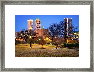 Bright Trails To The Tulsa Oklahoma Skyline - Color Framed Print by Gregory Ballos