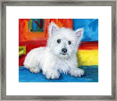 Bright Westie Framed Print by Dottie Dracos