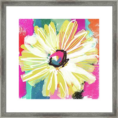 Bright Yellow Flower- Art By Linda Woods Framed Print by Linda Woods