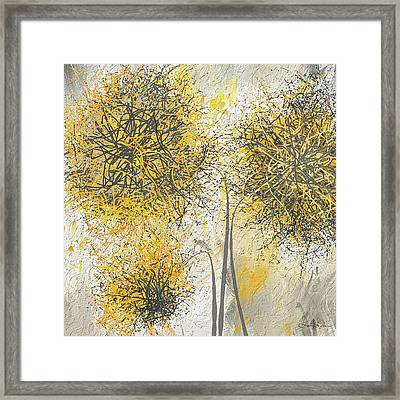 Brighter Blooms - Yellow And Gray Modern Artwork Framed Print