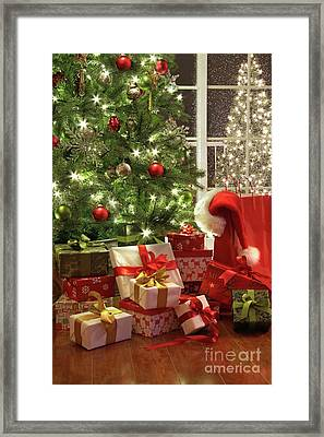 Brightly Lit Christmas Tree With Lots Of Gifts Framed Print by Sandra Cunningham