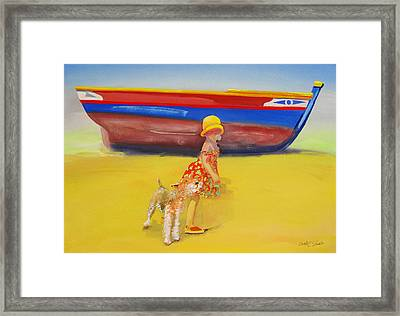 Brightly Painted Wooden Boats With Terrier And Friend Framed Print