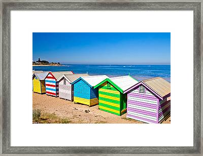 Brighton Beach Huts Framed Print by Az Jackson