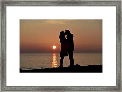 Brighton Beach Sunset Romance Framed Print