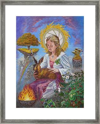 Brigid Goddess Celtic Goddess Of Fire Framed Print by Tomas OMaoldomhnaigh