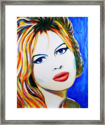 Framed Print featuring the painting Brigitte Bardot Pop Art Portrait by Bob Baker